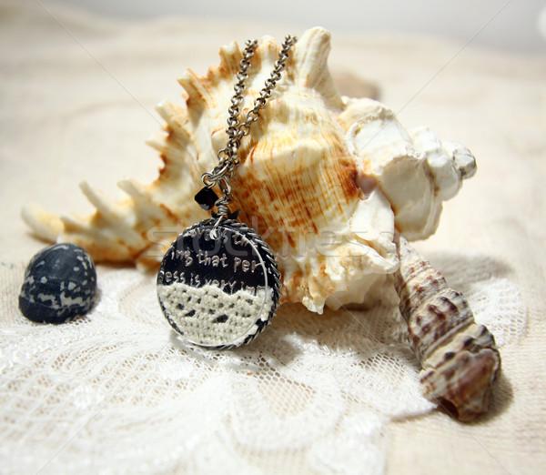 Nyaklánc kagyló lány nők divat fém Stock fotó © kawing921