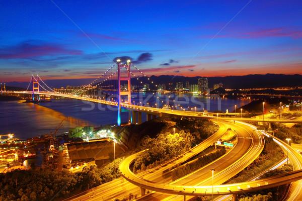 Tsing Ma Bridge in Hong Kong at night Stock photo © kawing921