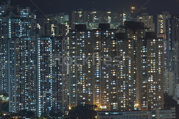 Hong Kong crowded apartments at night Stock photo © kawing921