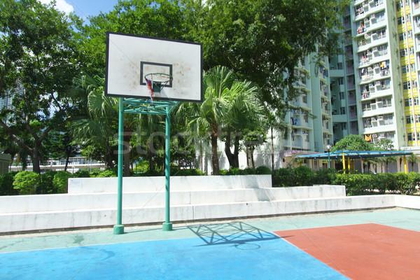 Basketbalveld hemel hout glas sport Blauw Stockfoto © kawing921