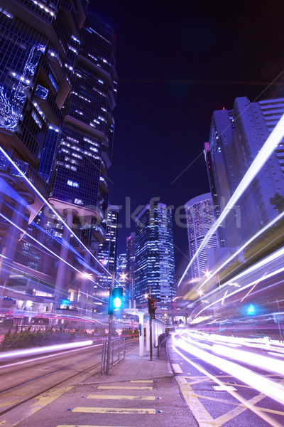Modern city night traffic (Hong Kong at night) Stock photo © kawing921