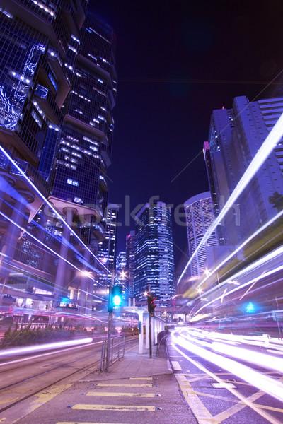 Moderna nocturna de la ciudad tráfico Hong Kong noche resumen Foto stock © kawing921
