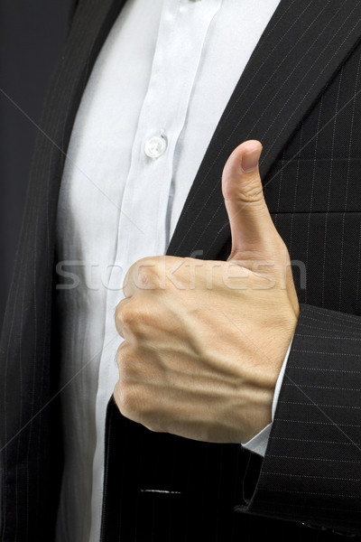 Foto stock: Homem · de · negócios · feliz · fundo · empresário · assinar