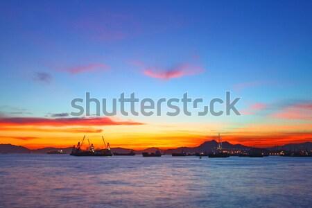 Navios pôr do sol ver luz mar caminhão Foto stock © kawing921