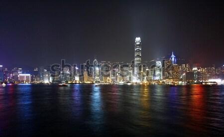 Hong Kong noite ver porto negócio escritório Foto stock © kawing921