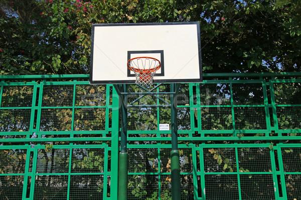 Boisko do koszykówki netto niebo tle siłowni niebieski Zdjęcia stock © kawing921