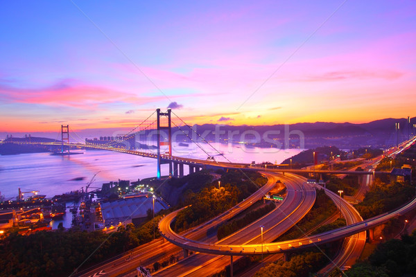 Tsing Ma Bridge at sunset moment in Hong Kong Stock photo © kawing921