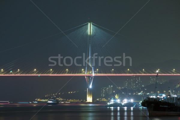 Ting Kau Bridge at night in Hong Kong Stock photo © kawing921