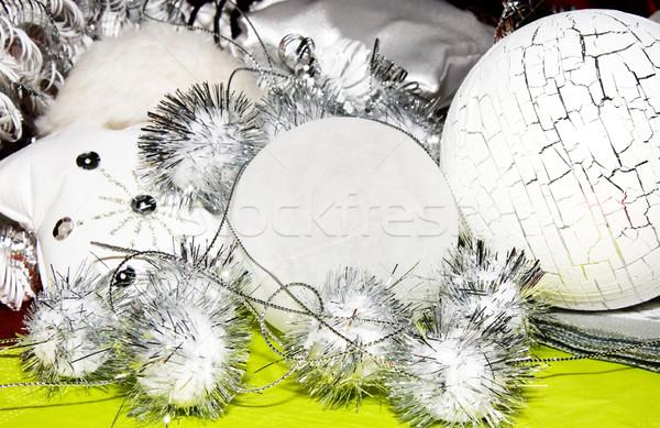 Рождества украшение белый серебро зеленый мяча Сток-фото © kaycee