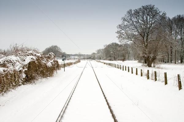 снега железная дорога бледный Blue Sky пейзаж трек Сток-фото © kaycee