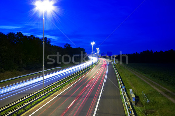 ночь шоссе Лучи свет небе улице Сток-фото © kaycee