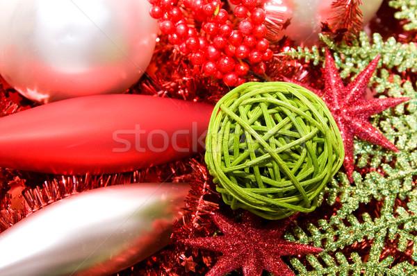 ストックフォト: クリスマス · 装飾 · 銀 · 緑 · 赤