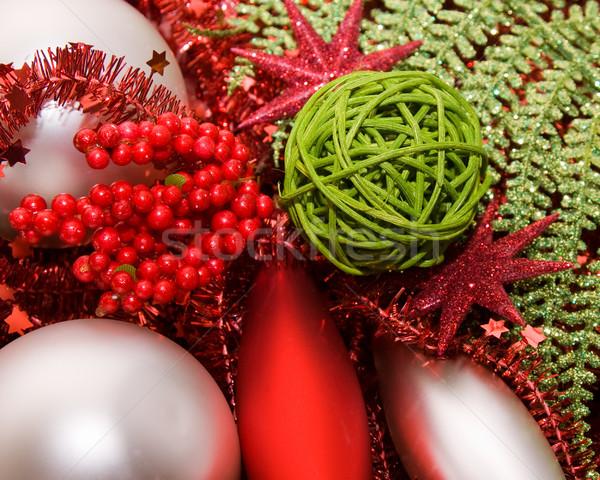 Сток-фото: рождество · украшение · украшения · серебро · зеленый · красный