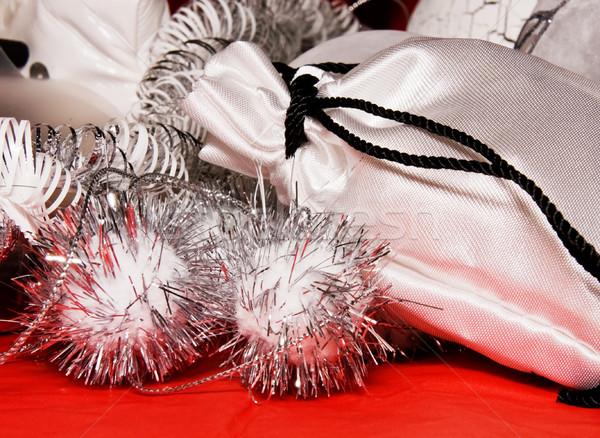 Сток-фото: рождество · украшение · подарок · сумку · красный · ткань