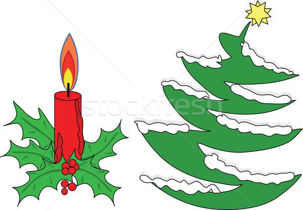 рождество дерево красный свечу декоративный листьев Сток-фото © kaycee