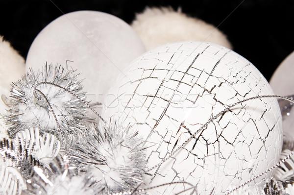Сток-фото: рождество · украшение · украшения · белый · серебро · мяча