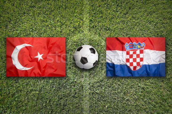 Турция против Хорватия футбольное поле флагами зеленый Сток-фото © kb-photodesign