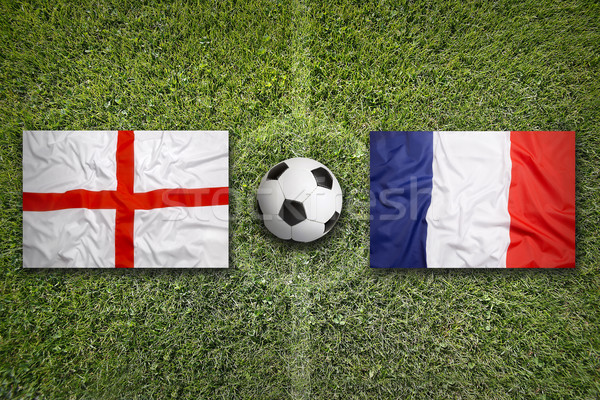 England vs. France flags on soccer field Stock photo © kb-photodesign