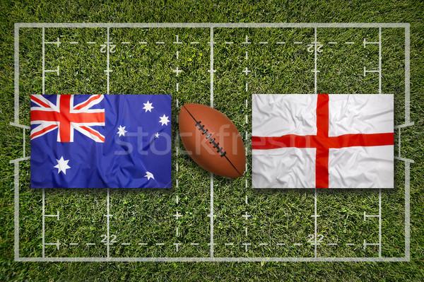 Vs inglaterra bandeiras rugby campo verde Foto stock © kb-photodesign