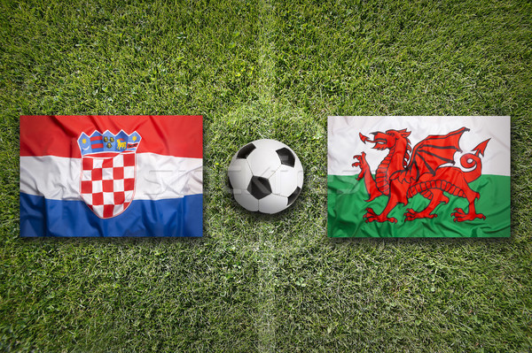 Croatia vs. Wales flags on soccer field Stock photo © kb-photodesign