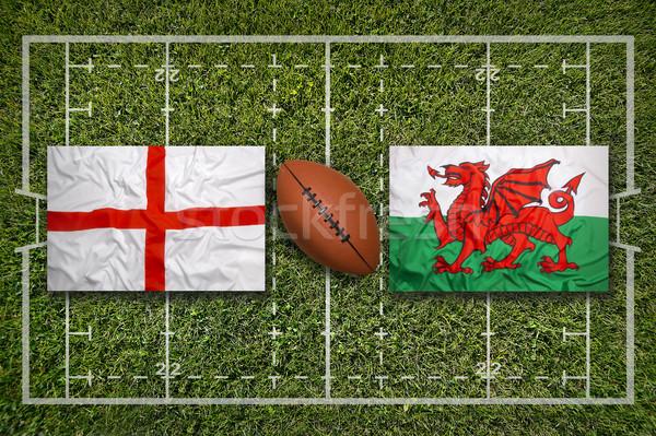 Anglia vs Wales zászlók rögbi mező Stock fotó © kb-photodesign