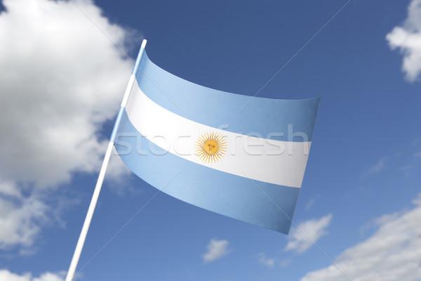 Zászló kék ég felirat szalag szimbólum Stock fotó © kb-photodesign