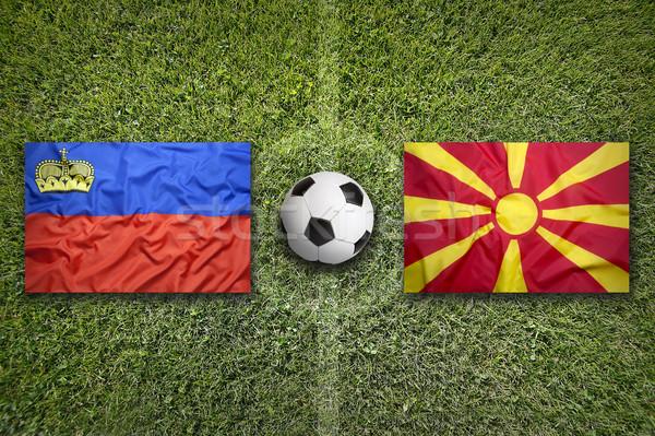 Liechtenstein vs Macedónia zászlók futballpálya zöld Stock fotó © kb-photodesign