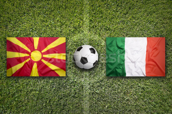 Macedonia vs. Italy flags on soccer field Stock photo © kb-photodesign
