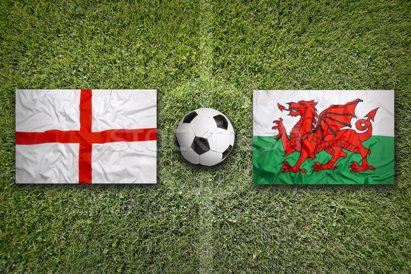 England vs. Wales flags on soccer field Stock photo © kb-photodesign