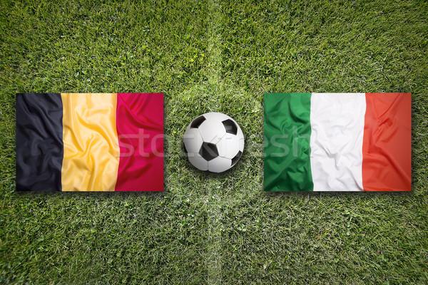 Bélgica vs Itália bandeiras campo de futebol verde Foto stock © kb-photodesign