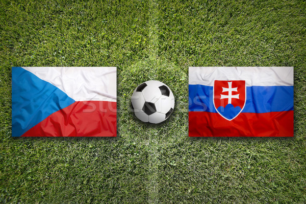 Czech Republic vs. Slovakia flags on soccer field Stock photo © kb-photodesign