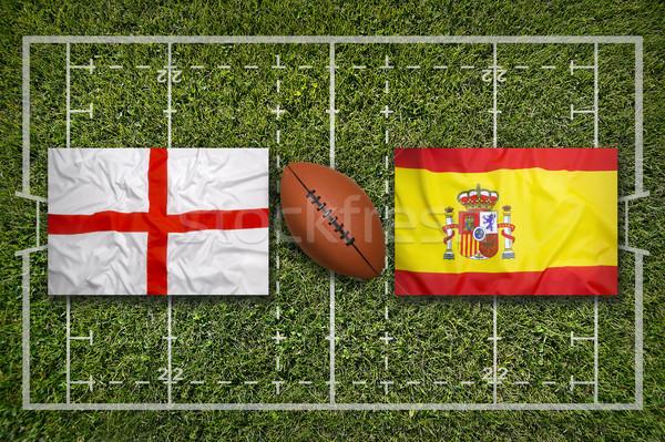 İngiltere vs bayraklar rugby alan yeşil Stok fotoğraf © kb-photodesign
