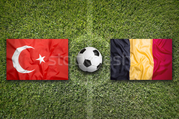 Turquía vs Bélgica banderas campo de fútbol verde Foto stock © kb-photodesign