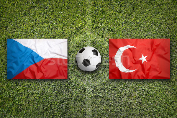 Czech Republic vs. Turkey flags on soccer field Stock photo © kb-photodesign