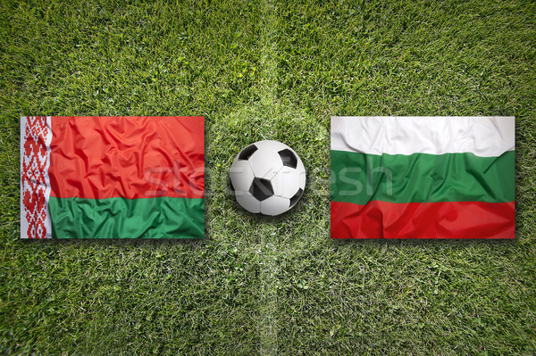 Belarus vs Bulgarie drapeaux terrain de football vert Photo stock © kb-photodesign
