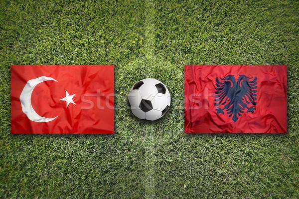 Turquia vs Albânia bandeiras campo de futebol verde Foto stock © kb-photodesign