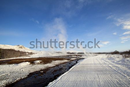 Several Geysers in a winter landscape in Iceland Stock photo © kb-photodesign