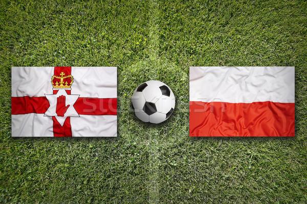 Kuzey İrlanda vs Polonya bayraklar futbol sahası Stok fotoğraf © kb-photodesign