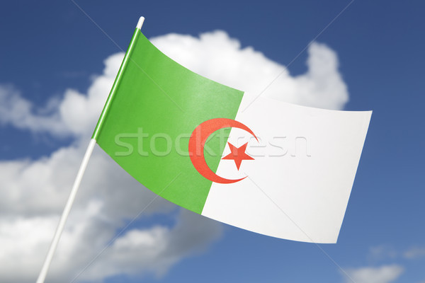 Bayrak mavi gökyüzü imzalamak Afrika afiş Stok fotoğraf © kb-photodesign