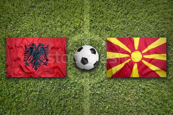 Albania vs. Macedonia flags on soccer field Stock photo © kb-photodesign