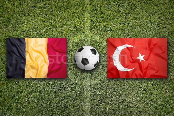 Bélgica vs Turquia bandeiras campo de futebol verde Foto stock © kb-photodesign