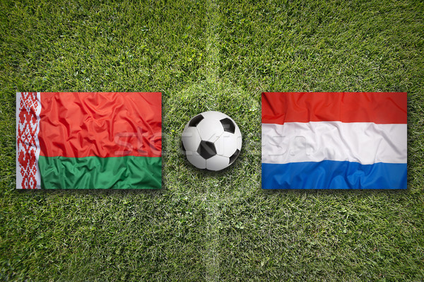 Belarus vs. Netherlands flags on soccer field Stock photo © kb-photodesign
