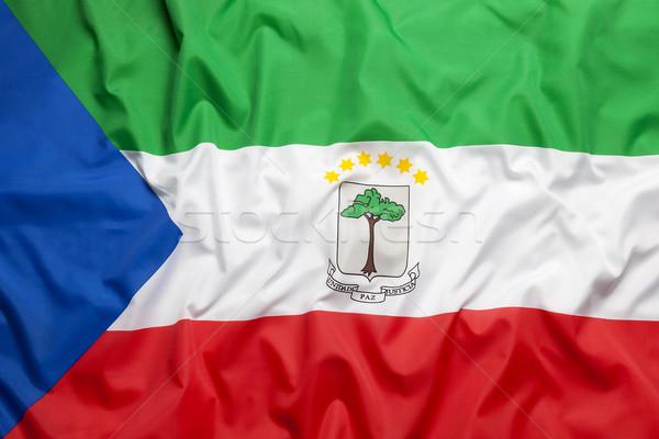 Textiel vlag groene Blauw weefsel land Stockfoto © kb-photodesign
