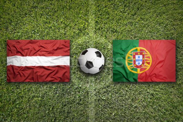 Vs zászlók futballpálya zöld csapat labda Stock fotó © kb-photodesign