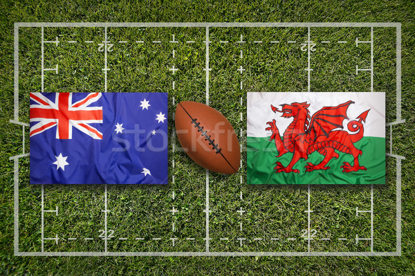 Australia vs. Wales flags on rugby field Stock photo © kb-photodesign