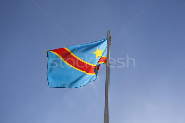 Bandera asta de bandera cielo azul cielo azul tejido Foto stock © kb-photodesign