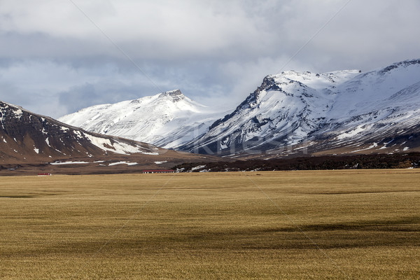 Vulcânico paisagem península Islândia primavera neve Foto stock © kb-photodesign