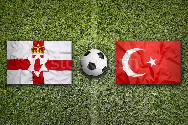 Irlandia vs Turcja flagi boisko do piłki nożnej Zdjęcia stock © kb-photodesign