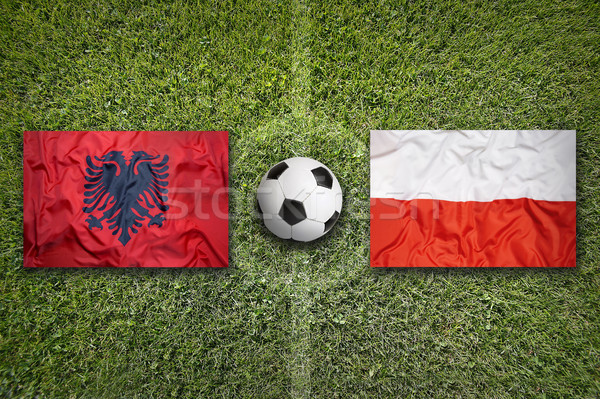 Albania vs. Poland flags on soccer field Stock photo © kb-photodesign