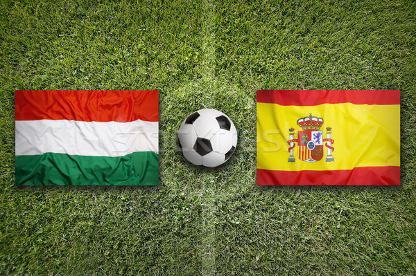 Hungary vs. Spain flags on soccer field Stock photo © kb-photodesign